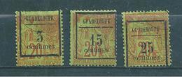 Colonie, Timbre  De Guadelouppe De 1889  N°3 A 5 (2 Oblitérés Et 1 Neuf *) Cote 74€ - Guadeloupe (1884-1947)