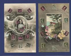 Lot De 2 CPA / Le Langage Des Timbres. - Postzegels (afbeeldingen)