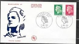 FDC Lettre  Premier Jour  Paris Le 11/01/1969 Les N°1536A Et 1536B Marianne De Cheffer  TB Soldé à Moins De 20 % ! ! ! - 1967-70 Marianne De Cheffer