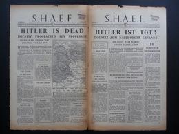WWII WW2 Tract Flugblatt Propaganda Leaflet Newspaper, VG.21, S.H.A.E.F., Nr. 21, 2. Mai 1945 - HITLER IST TOT! - Old Paper
