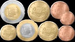 Monnaie Série 1 Centimes Cent Cts à 2 Euro Lettonie 2014, Neuves Du Rouleau, UNC - Lettonie