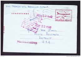 LETTRE, PAR PREMIER VOL BRUXELLES - DETROIT, 22.04.1980  (M19) - Stamped Stationery
