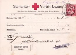 Samariterverein Luzern 1905 Suisse Croix Rouge Roten Kreuz Red Cross Schweiz Switzerland - Covers & Documents