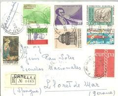 LETTER 1972  REGISTERED  CANELLI  A LLORET DE MAR  GERONA  ESPAÑA - 6. 1946-.. Republic