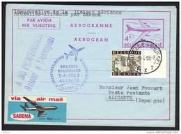 SABENA 1er Vol Belgique Alicante 05 04 1968 (LM14) - Stamped Stationery