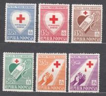 Indonesia 1956 Red Cross Mi#165-170 Mint Never Hinged - Indonésie