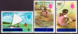 TUVALU 1976 SG #5-7 Part Set Used All With Wmk Mult. Block CA Upright - Tuvalu