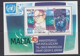 Malta 1987 United Nations Resolutiion On The Seabed  M/s ** Mnh (38616D) - Malta