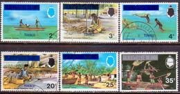 TUVALU 1976 SG #20-25 Set Used All With Wmk Mult. Crown CA Diagonal Sideways - Tuvalu