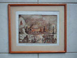 GRAVURE ENCADREE : DUNKERQUE - 4 JUIN 1940 -  NOTRE DAME DES DUNES : SIGNE ANNE MARIE PHILIPPEAU - - Engravings