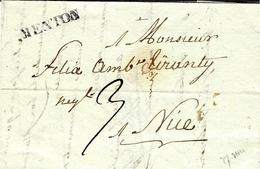 1830- Lettre De MENTON  - 27 Mm Noir  Pour Nice ( Nizza )  Taxe 3 - Italie