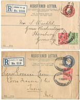 AR123) GRAN BRETAGNA - Registered Postal Stationery To Italy & Germany - Interi Postali