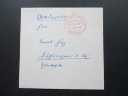 BRD 1958 Kleiner Briefumschlag Drucksache Roter Stempel Ravensburg 1 Bezahlt. Freistempel ?!? - BRD