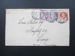 GB 1899 MiF Nr. 65 Als Waagerechtes Paar Und Nr. 86 Kleiner Brief Nach Leipzig Mit Ankunftsstempel - Briefe U. Dokumente