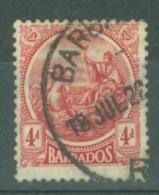 Barbados: 1921/24   Seal Of Colony    SG214    4d     Used - Barbados (...-1966)