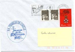 """PORTE-AVIONS NUCLEAIRE """" CHARLES DE GAULLE"""" - 60ème ANNIVERSAIRE DEBARQUEMENT EN NORMANDIE - Postmark Collection (Covers)"""