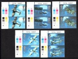 GREAT BRITAIN 1997 British Aircraft Designers (New Colour Control): 5 Corner Pairs Of Stamps UM/MNH - 1952-.... (Elizabeth II)