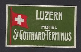 étiquette Valise  -   Hôtel Saint Gotthard Terminus  à  Luzern (Lucerne)   Suisse - Hotel Labels
