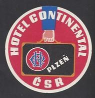 étiquette Valise  -   Hôtel Continental  à  Plzen   République Tchèque - Hotel Labels