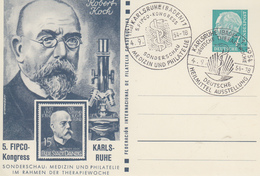 Carte   Entier  Postal   ALLEMAGNE   Tuberculose   Robert    KOCH   KARLSRUHE  1954 - Maladies
