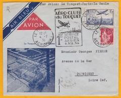 1936 - Enveloppe Illustrée  Par Avion AIR BLEU De Le Touquet Aéroport Vers Pornichet - Afft  2 Francs - Postmark Collection (Covers)