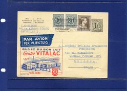 ##(DAN185)-1957- Belgium-advertising Postcard Vitalac Milk Sent By Air Mail From Bruxelles To Bologna (Italy) - Alimentación