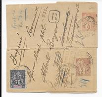 1902- INDOCHINE - BANDE JOURNAL RECOMMANDEE De SAÏGON COMPOSEE De 2 BANDES ENTIER AFFR AU DOS SPECTACULAIRE => SAXE - Briefe U. Dokumente