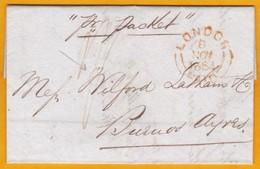 1854 - Lettre Avec Correspondance De 3 Pages De Londres London Vers Buenos Ayres Aires, Argentina Par Packet - Postmark Collection