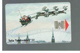 SVEZIA (SWEDEN) - TELIA  (CHIP) -  1993    SANTA CLAUS IN SLEDGE  - USED - RIF. 10027 - Suède