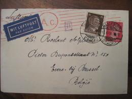 Lettre Cover DR Deutsches Reich 1943 CRACAU Mit LUFTPOST FLUGPOST Poste Aerienne Airmail Belgique - Luchtpost