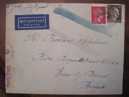 Lettre Cover DR Deutsches Reich 1943 CENSURE Mit LUFTPOST FLUGPOST Poste Aerienne Airmail Belgique GEÖFFNET - Luchtpost