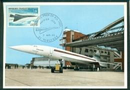 """CM-Carte Maximum Card # France-1969  #Transports # Avion Supersonique, Airliner  """"CONCORDE"""" # Toulouse  2.3.1969 - Maximumkarten"""