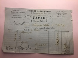 20-2-1858-PARIS-DABRUQUE DE CHAPEUX DE PAILLE-DAVRE - Francia