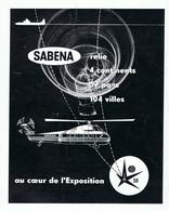 AFFICHE A4 - PUBLICITE SABENA - EXPOSITION 1958 - Publicités