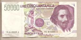 """Italia - Banconota Circolata Da 50.000 Lire """"Bernini II Tipo"""" P-116c - 1999 - [ 2] 1946-… : République"""