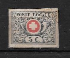 "SUISSE AN 1851 YVERT NR. 6 OBLITERE AVEC CERTIFICATION D""EXPERTS AU DOS - 1843-1852 Federal & Cantonal Stamps"