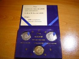PIECES 5, 20 ET 30 EURO TEMPORAIRE ARGENT VILLE DE LAON + ECRIN - Euros Of The Cities