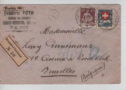 TP Projuventute+Helvetia S/L.recommandée Bureau Des Douanes C.Bémont-l'Ecrenaz 28/3/1927 V.BXL PR5181 - Suisse