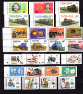 1985-87   Tanzanie, Entre Yv.  262 A Et 330**, Cote 99 €, Trains Insectes Football Serpent Snake, AUCUN DOUBLE - Tanzanie (1964-...)