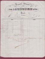 010518A VIEUX PAPIER FACTURE 1856 Brasserie Allemande JEAN LAUBENHEIMER & Fils à NERAC 47 LOT ET GARONNE Bière BELLA - France