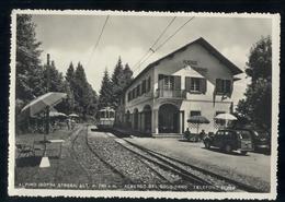 ALPINO - STRESA GIGNESE ANNI 40-50 ALBERGO BEL SOGGIORNO CON TRENO E GIARDINETTA - Bahnhöfe Mit Zügen