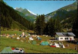 ! Moderne Ansichtskarte Campingplatz Glockner Heiligenblut, Kärnten, Autos, Cars, Zelte, VW, Kabinenroller - PKW
