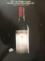 8153 - Grands Vins Baron Philippe Prix Couant (VOC) Illustré 1990 2 Doubles Pages A4 Paier Glacé - Autres Collections