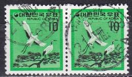 Korea Republic, 1977/79 - 10w Red-crested Cranes, Coppia - Nr.1090 Usato° - Corea Del Sud