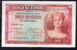 REPUBLICA ESPAÑOLA 1935 10 Pts.  MATRONA CON CORONA MURAL    MBC..B886 - [ 2] 1931-1936 : Republic