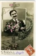 BONNE ANNEE  Un Train D'amitié..  Jeune Homme Avec Moustache - Anno Nuovo