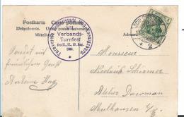 EL093 / Elsass,  Bild-Sonderkarte Turnfest Schlettstadt 1906 (Hohkönigsburg) - Allemagne