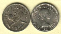 NEW ZEALAND 3 PENCE MAORI ARTEFACT FRONT QEII HEAD BACK 1954 F KM? READ DESCRIPTION !! - Nieuw-Zeeland