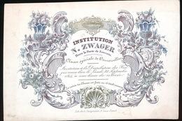 BRUGGE PORSELEINKAART 13 X 9 CM - INSTITUTION N.ZWAGER - HORS PORTE DE LOUVAIN - CLASSE SPECIALE DE DEMOISELLES - Gent