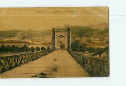 TREVOUX - Vue Générale Prise Du Pont - Carte Toilée Et Colorisée - 2 Scans - Trévoux